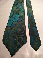 Rodney Men's Vintage Tie in a Green Aqua-marine and Black Abstract Pattern