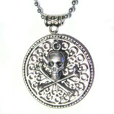 Medallion Skull w/Crossbones Pirate Coin Silver Pendant Necklace for costume