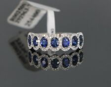 $3950 18K White Gold 2.36ct Blue Sapphire Round Diamond Wedding Ring Band Sz 6.5