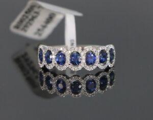 $3950 18K White Gold 2.36ct Blue Sapphire Round Diamond Wedding Ring Band Sz 6.5