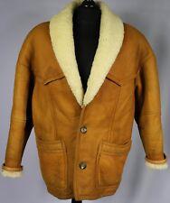 Shearling Nappa Leather Vintage Sheepskin Jacket Tan Brown 42 Large DL030