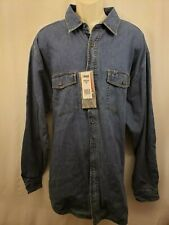 NWT RIGGS WORKWEAR BY WRANGLER MENS LONG SLEEVE FLANNEL LINED DENIM SHIRT 2XT