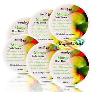 6x Derma V10 Mango Body Butter Moisturiser 220ml For Smooth And Soft Skin