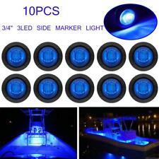 "10X 3/4"" Bullet Round Clearance Side Marker Truck Trailer LED Light Blue 12V"