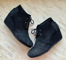 Toms Desert Wedge Booties Size 11 Womens Ankle Boots Leather Black