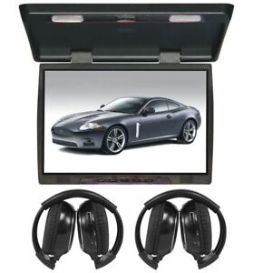 "TView T206IR 20"" Slim Flip Down Car/Truck Video Monitor + 2 Wireless Headsets"