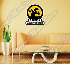 Caution Angry Worker Office Job Boss Funny Wall Sticker Room Interior Decor 22""