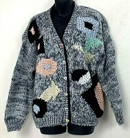 Vtg Richwils Back To Back Womens Cardigan Sweater Abstract Hand Knit Oversized L