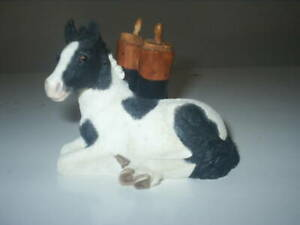 BORDER FINE ARTS HORSE Figurine BLACK & WHITE FOAL WITH RIDING BOOTS A0167 EXCL