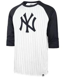 '47 Men's New York Yankees Pinstripe Raglan 3/4 Sleeve Jersey Shirt Medium M MLB