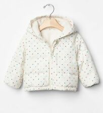 GAP Baby Girl Size 0-6 Months Ivory / Rainbow Polka Dot Puffer Coat Jacket