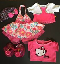Build A Bear Pink Girl Clothes Lot Sandals Dress Shirts Hat Hello Kitty