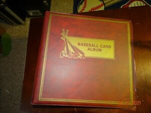 """Baseball Card Album 3"""" Display 3 Ring Binder for Trading Cards in Red Protecto"""