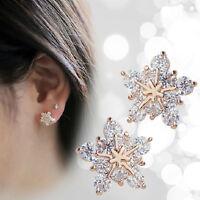 Ohrringe Stecker 925St.Silber pl.Eiskristall Schneeflocke Weiss Geschenk GUT