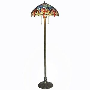 Serena D'italia Floor Lamp Tiffany Blue Dragonfly Bronze Stained Glass 60 in.