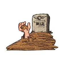 ID 0861 Rising Dead Tombstone Zombie Grave Halloween Iron On Applique Patch