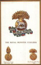 UK British Military Badge Crest Heraldic Postcard ROYAL MUNSTER FUSILIERS