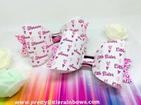 Any Name Sisters Glitter Hair Bow Set - Bundle - Big Sister Little Sister X 2