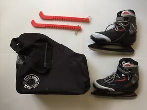 Bladerunner Ice Skates Red White Black Gray Colors Size 11 With Aero Wheels Bag