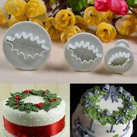 3pcs Cute DIY Holly Leaf Cupcake Cookie Fondant Cake Decor Plunger Cutter Mold