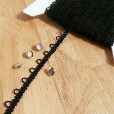White, Cream, Ivory, Black Bridal Loop Elastic Trim - Corset Button Braid cord
