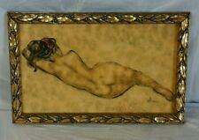 Vintage Reclining Nude Painting by B. Simon in Gold-tone Frame