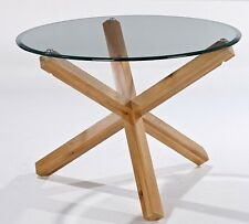 Oporto Round Coffee Table with Solid Oak Wood Legs and Tempered Bevelled Glass