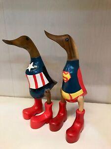 Wooden Bamboo Superhero Duck Super Man Captain America Handmade boys gift
