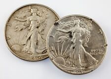 1937 and 1941-S 50C Walking Liberty Half Dollars in AU Condition