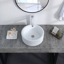 Bathroom Ceramic Vessel Sink Vanity Above Counter Round Basin With Pop Up Drain