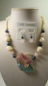 Lee Sands Shell Inlaid Hibiscus Flower w Rose Quartz, Sponge Coral & MOP nk & er