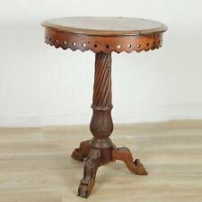 Tavolino tavolo antico da salotto rotondo in legno scolpito con piede centrale