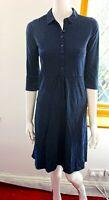 Seasalt 3/4 Sleeve Navy Blue Indigo Cotton Denim Shirt Dress Top 10 12 14 16 18