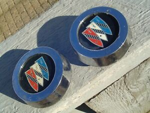 TWO VINTAGE BUICK GRAND SPORT SPECIAL SKYLARK HUBCAPS WHEEL COVERS CENTER CAPS