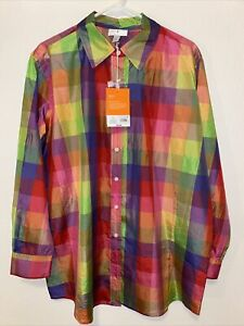 NWT Isaac Mizrahi Large 20th Anniversary Collection For Target Plaid Silk Blouse