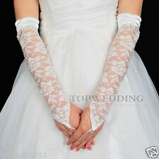 New White Lace Fingerless Elbow Length Wedding Party Bridal Bridesmaid Gloves