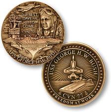 USS George H.W. Bush Challenge Coin CVN-77 US Navy Nuclear Aircraft Carrier Ship