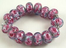 Lampwork Glass Beads Handmade Purple Pink Flower Jewelry Making Craft Rondelle
