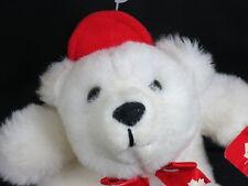 NEW CANADA MAPLELEAF RED BOWTIE BASEBALL HAT POLAR BEAR PLUSH STUFFED ANIMAL