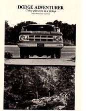 1969 DODGE ADVENTURER PICKUP TRUCK  ~ ORIGINAL 3-PAGE ARTICLE / AD
