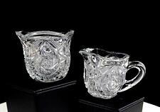 """EAPG US GLASS #15101 WHIRLIGIG COMET 2 3/8"""" CHILD'S CREAMER & SUGAR BOWL 1907"""