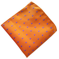 (F18 )Orange Purple Polka Dot Men 100% Silk Pocket Square Hanky Handkerchief