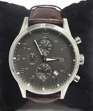 Hugo Boss Gent's Stainless Steel Leather Strap Chronograph Watch 1512570