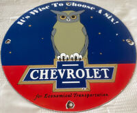 VINTAGE CHEVROLET PORCELAIN DEALERSHIP SIGN GAS STATION MOTOR OIL PUMP PLATE OWL