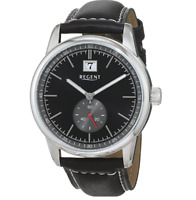 Regent Men's Silver/ Black 43mm Watch with Black Leather Strap - 11110791