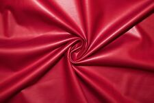 Red Matte Pleather Faux Leather Stretch Polyester Lycra Spandex Fabric BTY