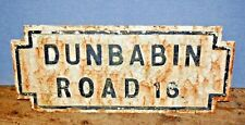 "LARGE RECLAIMED CAST IRON VICTORIAN ANTIQUE STREET SIGN "" DUNBABIN ROAD "" RARE"