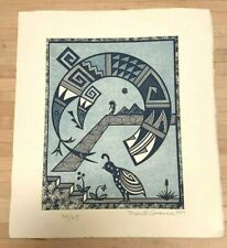 Merrill Quannie Acoma / Hopi Miembres Blue Quail Numbered 32/65 Etching 1989