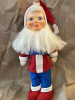 VINTAGE 1950-1960s COMPOSITE FACE Christmas SANTA ELF DOLL with Red & Blue Suit