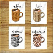 Kitchen Coffee Wall Art Decor Leopard Zebra Tiger Giraffe Print Mug Latte Safari